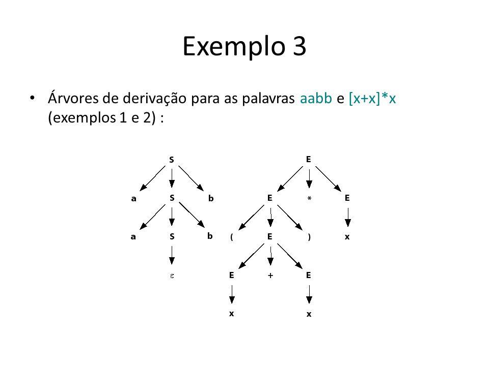 Exemplo 3 Árvores de derivação para as palavras aabb e [x+x]*x (exemplos 1 e 2) :
